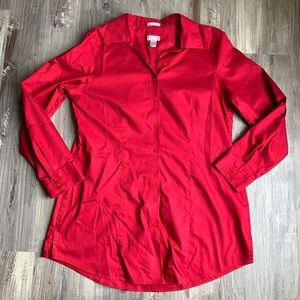 Chico's Red Tunic Long Sleeve Button Up Top 1 Med